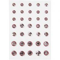 Pierres de strass, Cônes ronds, dim. 6+8+10 mm, rose, 35 pièce/ 1 Pq.