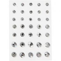 Pierres de strass, Cônes ronds, dim. 6+8+10 mm, argent, 35 pièce/ 1 Pq.