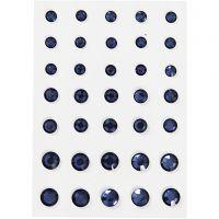 Pierres de strass, Cônes ronds, dim. 6+8+10 mm, bleu, 35 pièce/ 1 Pq.
