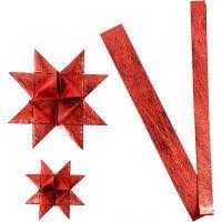 Bandes de papier étoiles, L: 44+78 cm, d: 6,5+11,5 cm, L: 15+25 mm, rouge, 32 bandes/ 1 Pq.