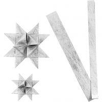 Bandes de papier étoiles, L: 44+78 cm, d: 6,5+11,5 cm, L: 15+25 mm, argent, 32 bandes/ 1 Pq.