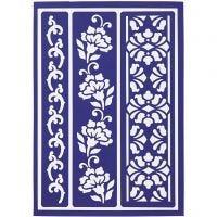 Pochoir souple, bordure fleurie, 21x14,8 cm, 1 pièce