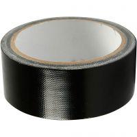 Ruban tissu, L: 38 mm, noir, 25 m/ 1 rouleau