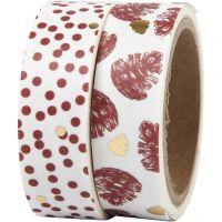 Ruban adhésif Washi Tape, Pommes de pin et points - film, L: 15 mm, 2x4 m/ 1 Pq.