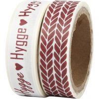 Ruban adhésif Washi Tape, 'Hygge' et tricot, L: 15 mm, 2x5 m/ 1 Pq.
