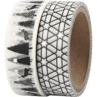 Ruban adhésif Washi Tape, rennes et motifs - film, L: 15 mm, 2x4 m/ 1 Pq.