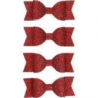 Noeud en papier, dim. 31x85 mm, glitter rouge, 4 pièce/ 1 Pq.