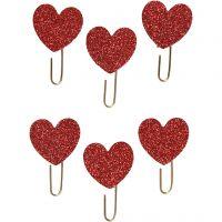 Trombonnes métalliques, Coeur, d: 30 mm, glitter rouge, 6 pièce/ 1 Pq.