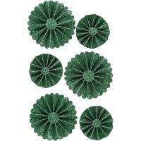 Rosettes en papier, d: 35+50 mm, glitter vert, 6 pièce/ 1 Pq.