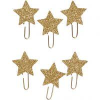 Trombonnes métalliques, Étoile, d: 30 mm, glitter or, 6 pièce/ 1 Pq.