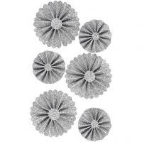 Rosettes en papier, d: 35+50 mm, argent scintillant, 6 pièce/ 1 Pq.