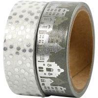 Ruban adhésif Washi Tape, maisons et points - film, L: 15 mm, argent, 2x4 m/ 1 Pq.