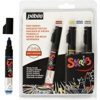 Marqueur Skrib, trait 4 mm, noir, bleu, rouge, jaune, 4 pièce/ 1 Pq.