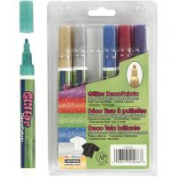 Feutres textile Glitter Deco, trait 3 mm, couleurs scintillantes, 6 pièce/ 1 Pq.