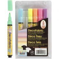 Feutres textile Glitter Deco, trait 3 mm, couleurs néons, 6 pièce/ 1 Pq.