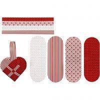 Coeurs tressés, dim. 14,5x10 cm, 120 gr, rouge, blanc, 8 set/ 1 Pq.