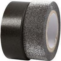 Ruban adhésif design, L: 15 mm, noir, 2 rouleau/ 1 Pq.