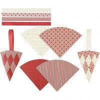 Cornets tressés, H: 19,3 cm, L: 9,2 cm, rouge, blanc, 8 set/ 1 Pq.