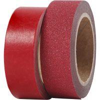 Ruban adhésif design, L: 15 mm, rouge, 2 rouleau/ 1 Pq.