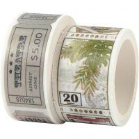 Ruban adhésif Washi Tape, Motif tikets et nature, L: 3+5 m, L: 20+25 mm, 2 rouleau/ 1 Pq.