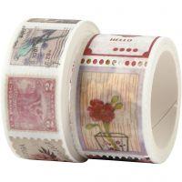 Ruban adhésif Washi Tape, Motif tampon et fleur, L: 3+5 m, L: 20+25 mm, 2 rouleau/ 1 Pq.