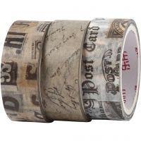 Ruban adhésif Washi Tape, Lettre de correspondance, L: 5 m, L: 15 mm, 3 rouleau/ 1 Pq.