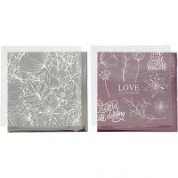 Film décoratif et feuille de papier transfert, fleurs, 15x15 cm, rose, argent, 4 flles/ 1 Pq.