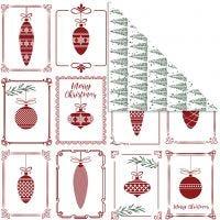 Papier Design, Boules et sapins de Noël, 30,5x30,5 cm, 180 gr, 5 flles/ 1 Pq.