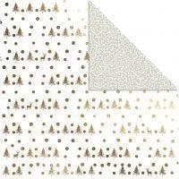 Papier Design, rennes et points, 30,5x30,5 cm, 180 gr, or, 3 flles/ 1 Pq.