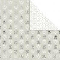 Papier Design, anges et coeurs, 30,5x30,5 cm, 180 gr, argent, 3 flles/ 1 Pq.