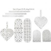 Coeurs tressés, dim. 12,5x11,5 cm, 120 gr, argent, blanc, 8 set/ 1 Pq.