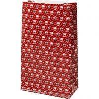 Sac en papier, tambour, H: 21 cm, dim. 6x12 cm, 80 gr, rouge, blanc, 8 pièce/ 1 Pq.