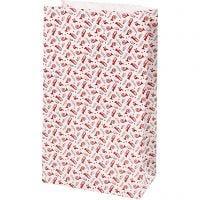 Sac en papier, trompette, H: 21 cm, dim. 6x12 cm, 80 gr, rouge, blanc, 8 pièce/ 1 Pq.