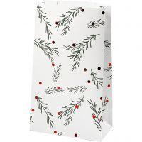 Sac en papier, branche d'épinette avec boules de Noël, H: 21 cm, dim. 6x12 cm, vert, rouge métallique, blanc, 8 pièce/ 1 Pq.