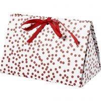 Boîte cadeau à plier, Points, dim. 15x7x8 cm, 250 gr, rouge, 3 pièce/ 1 Pq.