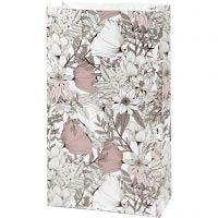 Sac en papier, H: 21 cm, dim. 6x12 cm, 80 gr, beige, brun, rose, blanc, 8 pièce/ 1 Pq.