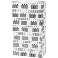 Sac en papier, H: 21 cm, dim. 6x12 cm, 80 gr, noir, blanc, 8 pièce/ 1 Pq.