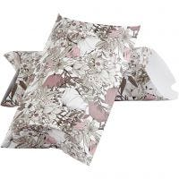 Boîte d'emballage à plier, fleurs, dim. 23,9x15x6 cm, 300 gr, beige, brun, rose, blanc, 3 pièce/ 1 Pq.