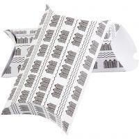 Boîte d'emballage à plier, cabines de plage, dim. 23,9x15x6 cm, 300 gr, noir, blanc, 3 pièce/ 1 Pq.