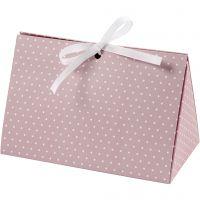 Boîte cadeau à plier, points, dim. 15x7x8 cm, 250 gr, rose, blanc, 3 pièce/ 1 Pq.