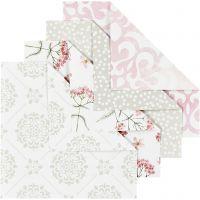 Papier Origami, dim. 10x10 cm, 80 gr, vert, gris, rouge clair, blanc, 40 flles/ 1 Pq.