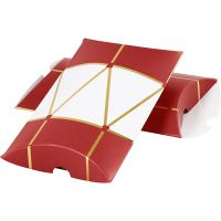 Boîte d'emballage à plier, tambour, dim. 14,9x9,4x2,5 cm, 300 gr, or, rouge, blanc, 3 pièce/ 1 Pq.