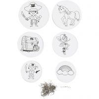 Décorations pour mobile avec motifs, d: 12+15+18 cm, 300 gr, blanc, 20 set/ 1 Pq.