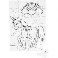 Puzzle, dim. 15x21 cm, blanc, 16 pièce/ 1 Pq.