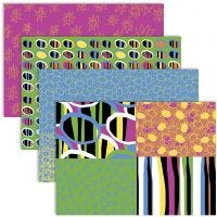 Papier découpage, 25x35 cm, 17 gr, couleurs Joyeuses, 4x2 flles/ 1 Pq.