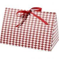 Boîte cadeau à plier, Motif arlequin, dim. 15x7x8 cm, 250 gr, rouge, blanc, 3 pièce/ 1 Pq.