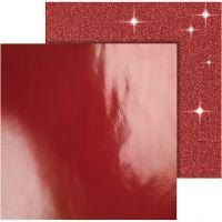 Papier Design, 30,5x30,5 cm, 120+128 gr, rouge, 2 flles/ 1 Pq.