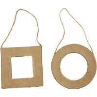 Cadres, carré et rond, dim. 7 cm, 6 pièce/ 1 Pq.