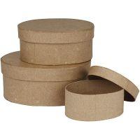 Boîtes ovales, H: 5+6,5+8 cm, L: 11,5+15+18 cm, 3 pièce/ 1 set