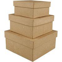 Boîtes carrées, H: 5+6+7,5 cm, dim. 10+12,5+15 cm, 3 pièce/ 1 set